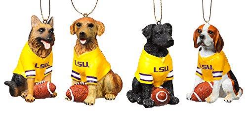 Team Dog Ornaments, 4 Assort., Louisiana State University