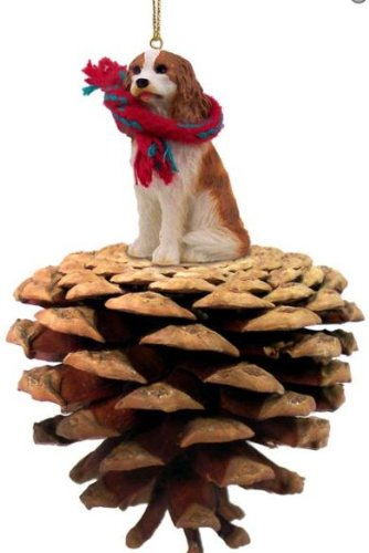 Brown and White Cavalier King Charles Spaniel Real Pinecone Dog Christmas Ornament