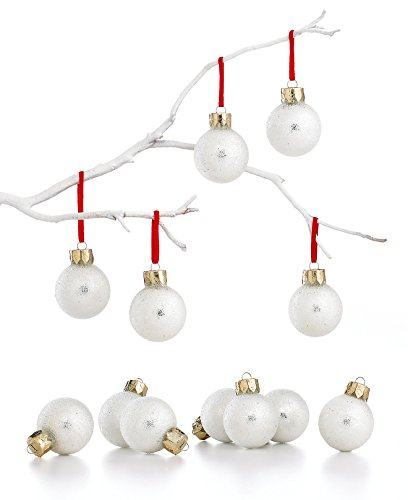 Holiday Lane Silver Sugar Coated Glass Ornaments Set of 12