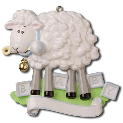 Baby Sheep Blue Personalized Christmas Tree Ornament