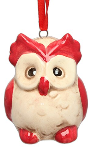 Blossom Bucket Red/White Owl Ornament Christmas Decor, 2-1/4″ High