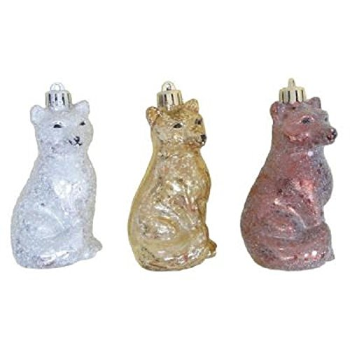 Martha Stewart Living 6 Pc FOX Shatter-resistant 2.8″ Ornaments Snowberry Series Silver Gold Brown Glass Glitter Frosted Dog Animal