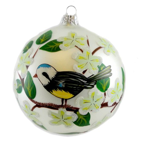 Christina's World CHICKADEE & DOGWOOD Blown Glass Ornament Christmas Ball BIR183