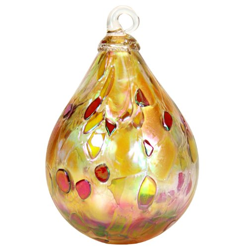 Glass Eye Studio Hand Blown Glass Raindrop Ornament – Dusty Gold