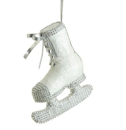 7.5″ Seasons of Elegance Silver Glitter Gem Ice Skate Christmas Ornament