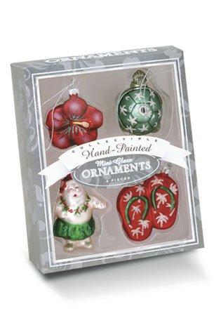 Hawaiian Island Style Mini Glass Ornament Set 4-Pack – Hawaiian Santa, Honu Turtle, Hibiscus, Slippers