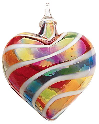 Glass Eye Heart Rainbow Cane Ornament