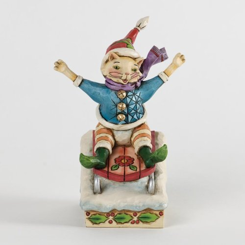 Jim Shore for Enesco Heartwood Creek Christmas Cat on Sled Figurine, 5.25-Inch