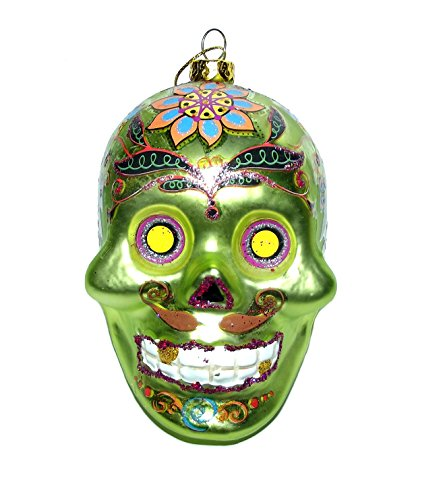 DAY OF THE DEAD GREEN GLITTER EMBELLISHED SKULL ORNAMENT