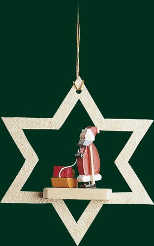 Hanging Christmas Tree Star Shaped Ornament Santa Claus, 3.2 Inches