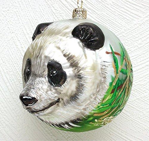 Christinas World Panda Bear Figural Polish Mouth Blown Glass Christmas Ornament