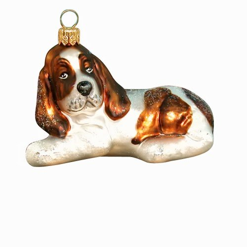Ornaments To Remember Basset Hound (White/Brown) Hand-Blown Glass Ornament