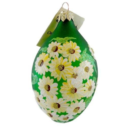 Christina's World DAISY EGG Blown Glass Ornament Easter EGG028 GREEN