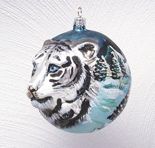 Christinas World White Tiger Figural Polish Mouth Blown Glass Christmas Ornament