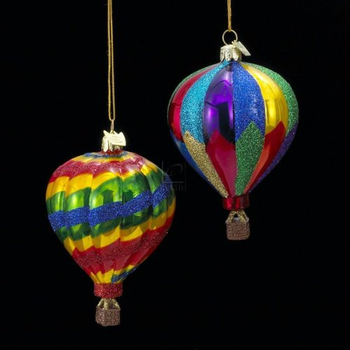 Noble Gems Glass Hot Air Balloon Ornament Set Of 2