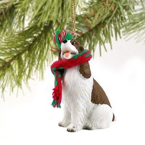 Springer Spaniel Miniature Dog Ornament – Liver & White