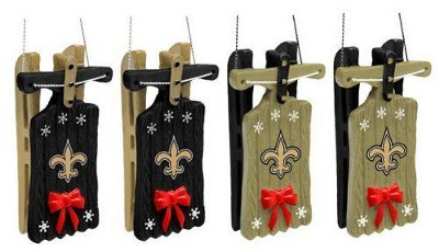 New Orleans Saints Sleigh Ornament 4 pack