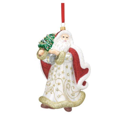 Reed & Barton European Glass Starry Night Santa Ornament