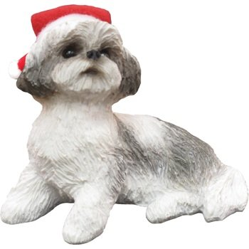 Ornament Shih Tzu, Silver/White