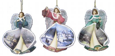 Thomas Kinkade Winter Angels of Light Ornaments Issue 1 Set of 3 by The Bradford Exchange