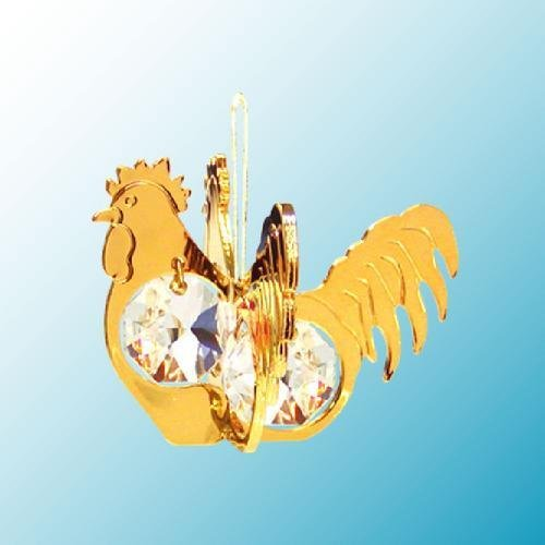 24K Gold Plated Hanging Sun Catcher or Ornament….. Rooster with Clear Swarovski Austrian Crystal
