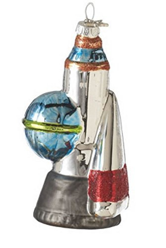Blast Off! Space Rocket Plastic Ornament
