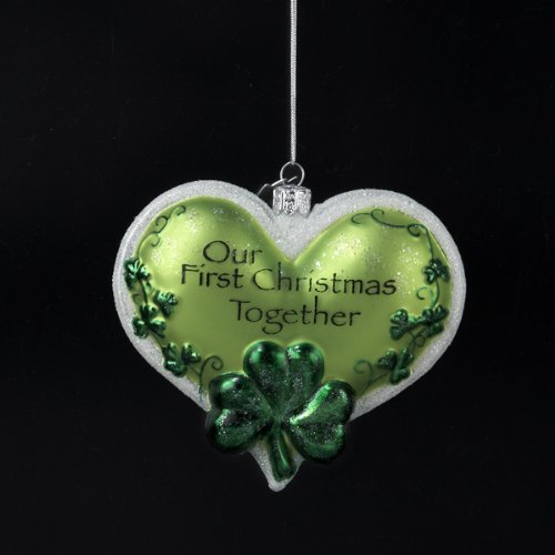 "3.5″ Noble Gems Luck of the Irish ""Our First Christmas Together"" Heart Ornament"