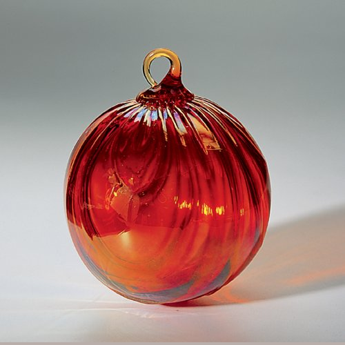 Glass Eye Studio Hand Blown Glass Ornament – Red Drape