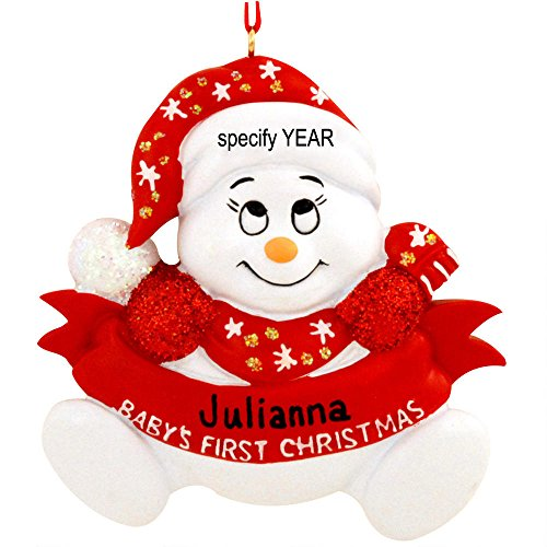Personalized Snow Baby snowman word Red Holiday Gift Expertly Handwritten Ornament