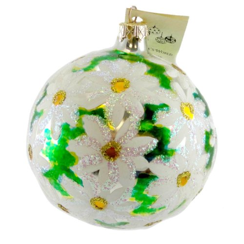 Christina's World DAISY EXPLOSION Blown Glass Ornament Ball Flower FLO 601