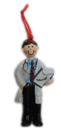 Personalized Doctor Man Brown Holiday Gift Expertly Handwritten Ornament