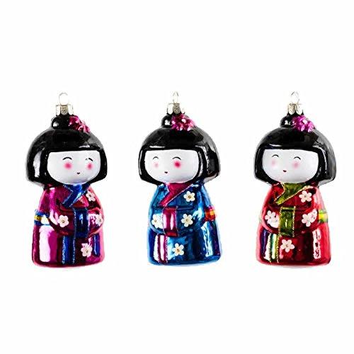 Set 3 4.5″ Japanese Kimono Doll Glass Christmas Ornament
