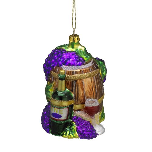 Kurt Adler Glass Wine and Grapes Ornament, 3.25-Inch