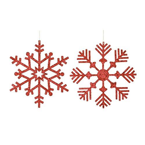Vickerman 395752 – 12″ Red Glitter Snowflake Christmas Tree Ornament (2 pack) (M157403)