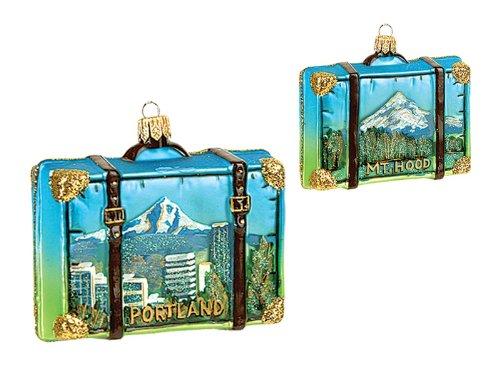 Portland Oregon Travel Suitcase Polish Mouth Blown Glass Christmas Ornament