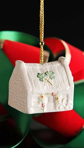 Belleek 4233 Pottery Claddagh Cottage Annual Ornament 2014, 2.4-Inch, White