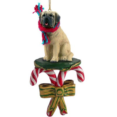 MASTIFF Dog CANDY CANE Christmas Ornament NEW DCC49
