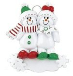 Personalized Ornament Family of 3 Snowmansled