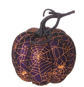 RAZ Imports – Halloween Decoration – 7″ Golden Spider Web Decorated Pumpkin (Purple)