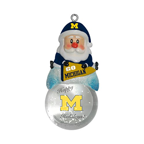 NCAA Michigan Wolverines Snow Globe Ornament, Silver, 1.5″