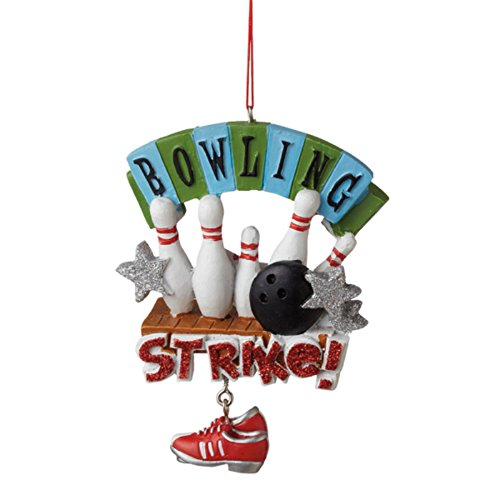 STRIKE Bowling Ball and Pins Christmas Ornament
