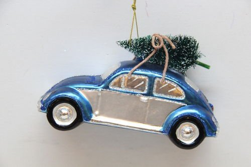 December Diamonds Car with Tree Glass Christmas Hanging Ornament VW Beetle Bug