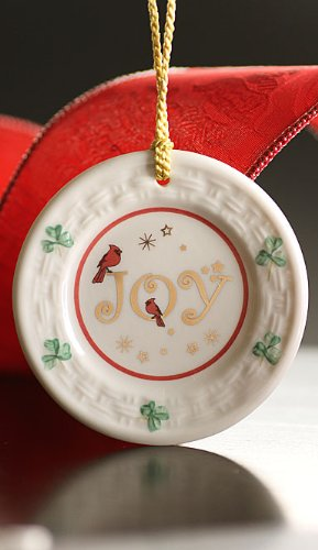 Belleek 4145 Joy Plate Ornament, 3.3-Inch, White