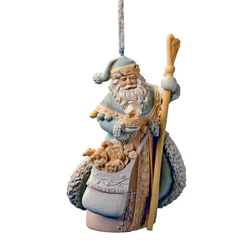 Enesco Foundations Santa with Staff Ornament, 4.25-Inch