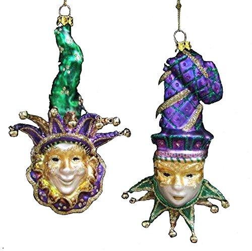 Kurt Adler 5.5″ Noble Gems Glass Mardi Gras Mask Ornaments 2 Assorted