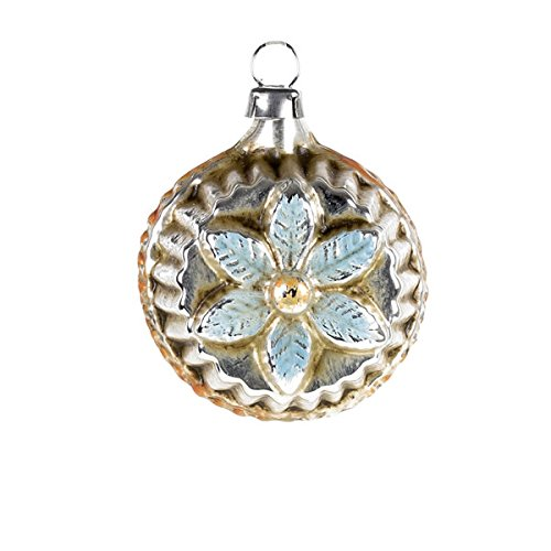 "Vintage mouthblown Christmas Miniature glass ornament ""Bloom with Spike Brim"", blue by MAROLIN® Germany"