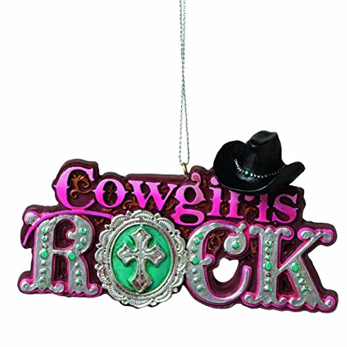 Cowgirls Rock Cowgril Hat Pink Resin Stone Christmas Tree Ornament