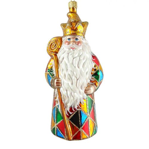 David Strand Kurt Adler Glass Harlequin Santa Ornament, 6.3-Inch