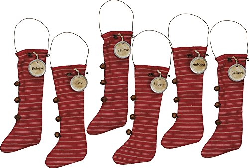 Vintage Red Knit Stocking Ornaments with Jingle Bells 9-1/2-in – Believe, Joy, Noel, HoHoHo – Set of 6