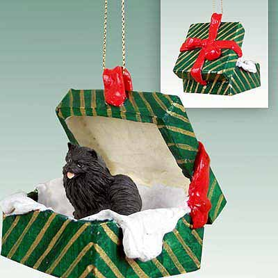 Conversation Concepts Pomeranian Black Gift Box Green Ornament